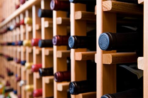 Wine in Wooden Racks